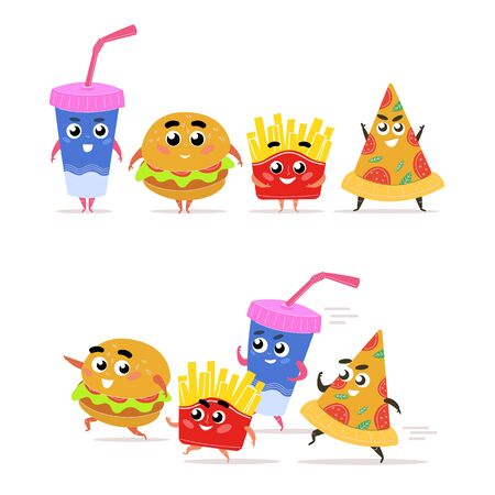 Funny fast food character. Happy hamburger with salad french fries slice pepperoni pizza glass of soda running colorful cheerful fast food, comic quick lunch design. Cartoon vector graphics.