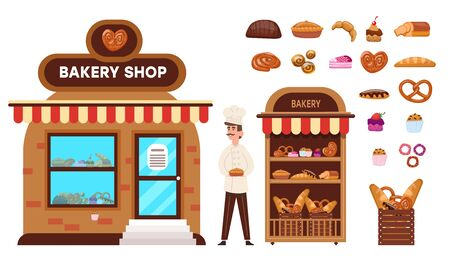 Baking shop online. Confectioner sells buns cakes bread bagel cookies cake pretzels stall with showcase finished fresh products rack basket bakery products. Cartoon vector graphics.