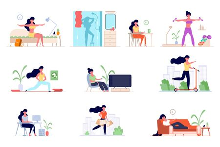 set of daily routine woman. Awakening in the morning, morning exercises, bathing in the shower, breakfast , office work, shopping, watching TV, skateboarding, sleeping. Vector graphics in flat style. Иллюстрация