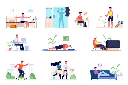A set of daily routine men. Awakening in the morning, morning exercises, bathing in the shower, breakfast , office work, shopping, watching TV, skateboarding, sleeping. Vector graphics in flat style.