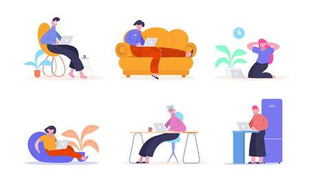 Work from home. People with laptops happily work remotely from home on couch chair ottoman creative color illustration professional freelancers online work. Vector flat style.