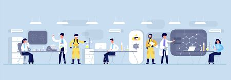 Vaccine development concept. Scientists biochemical laboratory spend bio-genetic tests coronovirus test tubes, analysis research, dna formula, microscope, protective suits. Vector flat illustration.