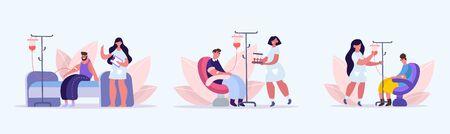 People donate blood. Donation blood transfusion donors volunteers who have had coronovirus healing plasma combating Covid 19, volunteer assistance healthcare, maintaining health. Vector flat style. Ilustracje wektorowe