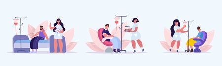 People donate blood. Donation blood transfusion donors volunteers who have had coronovirus healing plasma combating Covid 19, volunteer assistance healthcare, maintaining health. Vector flat style.