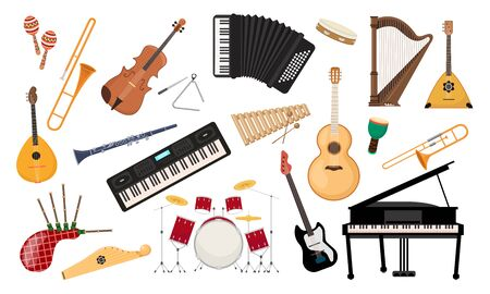 Musical instruments set. Folk classical musical equipment violin, bagpipe harp synthesizer piano saxophone classical and electro guitar accordion balalaika xylophone drum kit. Cartoon color vector.