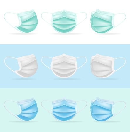 Medical mask surgical colored. Mask protection against coronovirus profile full face green white blue surgical safety against respiratory viruses bacteria, healthy breathing design. Color vector.