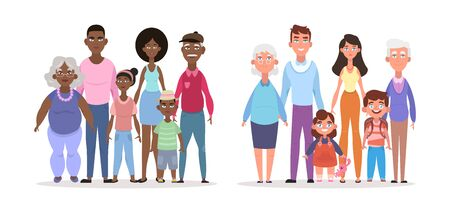 Afroamerican european family. Smiling parents elderly grandfather grandmother young father mother children girl boy elegant happy family modern positive multiethnic family life. Joyful cartoon vector
