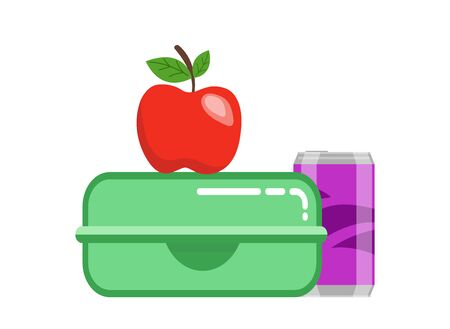 School lunchbox snack. Food container green lunchbox red juicy apple purple soda can healthy fresh breakfast student snack. Vector tasty clipart style. Ilustracja
