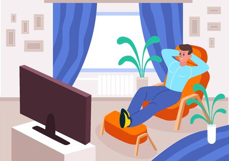 Quarantined man watches TV at home. Satisfied guy stays at home watching smart TV orange armchair laying comfortable chair opposite large window indoor green plants. Cartoon vector style. Иллюстрация