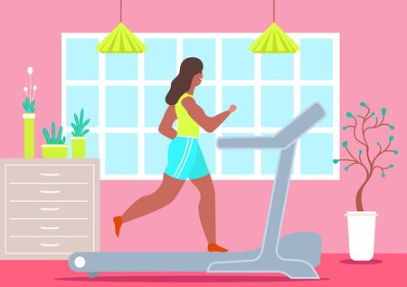Girl treadmill at home. Happy woman jogging during quarantine treadmill at home sports girl is jogging her apartment front larger window. Color vector flat graphics.