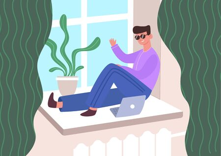 Man laptop on windowsill. Guy smile sunglasses in quarantine communicates online friends laptop while sitting pad near window next green houseplant. Vector cartoon style. Иллюстрация