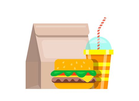 Paper bag lunch fast food. Bag food juicy fresh hamburger striped glass soda with straws nutritious fast food restaurant quick lunch snack. Appetizing vector clipart.