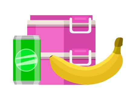 Lunchbox school snack. Pink two tier food container lunchbox yellow ripe banana green soda can healthy fresh breakfast every day. Tasty vector clipart.