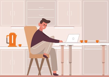 Man in kitchen with laptop. Smiling guy stays at home works laptop kitchen during quarantine orange coffee pot cupscoffee illustration remote work connection coronavirus. Calm vector cartoon.