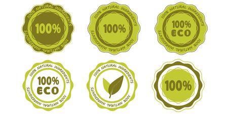 Öko-Symbole. Satz von natürlichen Zutaten 100 Prozent grüne Stempelsymbole. Set von organischen Aufklebern, Etiketten, Tags. 100 Prozent Naturprodukt, gesunde Ernährung. Bio-Lebensmittel-Abzeichen für Kosmetik. Vektor
