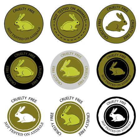 Cruelty free. Not tested on animals. Set of different stamps with lettering Cruelty free and Not tested on animals. Badges for productions, what was not tested on animals. Vector illustration