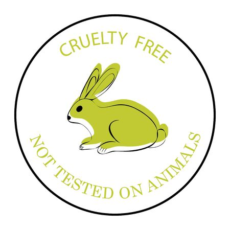 Cruelty free. Not tested on animals. Green rabbit symbol with lettering Cruelty free. An icon for productions, what is not tested on animals. An icon with a rabbit isolated on white background. Vector Vektorové ilustrace