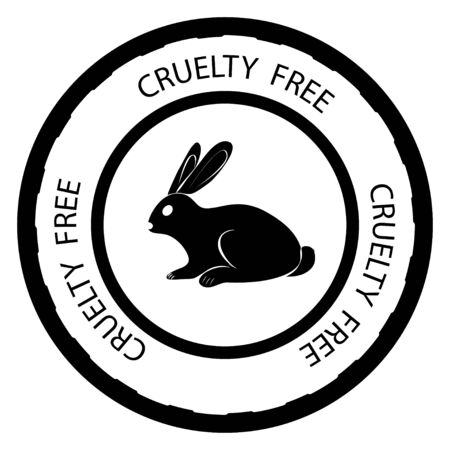 Cruelty free. Rabbit symbol with lettering Cruelty free around. Icon for products, what is not tested on animals. Round icon with a rabbit inside and titles in glyph style. Vector