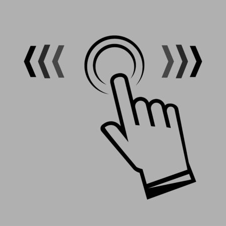 Swipe up. Hand swipe sign in a linear style. Finger touch vector icon. Swipe right or left. Click here icon. Finger touch here. See more icon, scroll pictogram. Vector Illustration