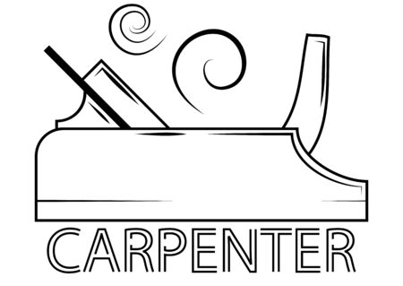 Hand instrument for wood working. Planer with shavings. Carpenter design element in outline style for a  label, badge, T-shirts. Carpentry planer. Vector