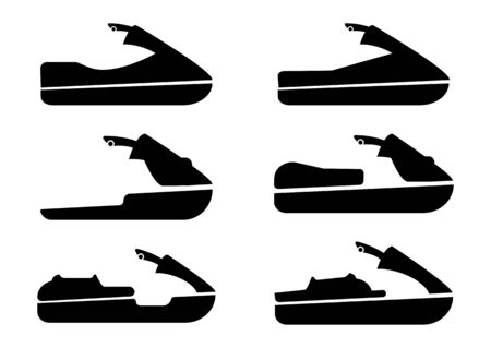 Jet ski icons set. Collection of sport water emblem. Flat set of jet ski vector icons for web design in glyph style, isolated on white background Vetores