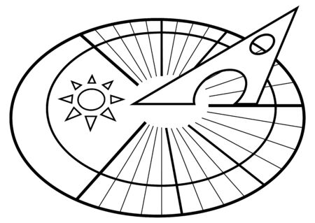 Sundial. Solar dial. Sun clock. Clock icon in outline style isolated on white background. Vector