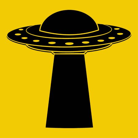 UFO. Flying spaceship in black color. UFO render. Flying saucer. Alien space ship in glyph style, isolated on yellow background. Vector