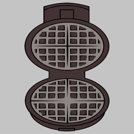 Wafer iron. Wafer -iron icon. Open waffle iron on a grey background