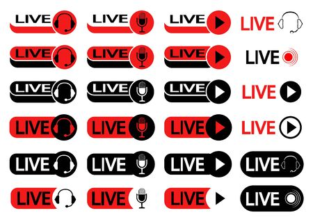 Set of buttons for live streaming. Set of symbols for live streaming, broadcasting, online stream in black and red color. Icons with headphones, microphone and play symbol for online broadcast. Vector