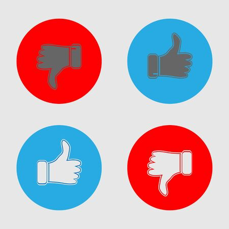 Thumb up and thumb down blue and red icons. Like and dislike icons set. Set of simple flat style. Icon inside the circle, isolated on white background. Vector Ilustrace