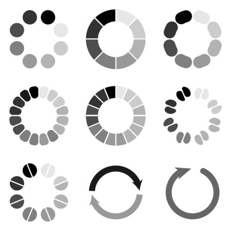 Set of different load icon. Circle website buffer loader or preloader. Download or upload status icon. Icon isolated on white background. Vector