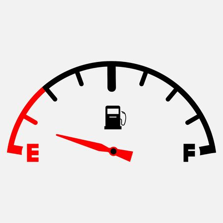 The concept of a fuel indicator, gas meter. Fuel sensor. Car dashboard. Vector illustration on white background. Gas gauage icon