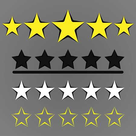 Set of five stars. Customer product, rating review, flat icon for apps and websites. Stars isolated on grey bakground. Vector Illustration