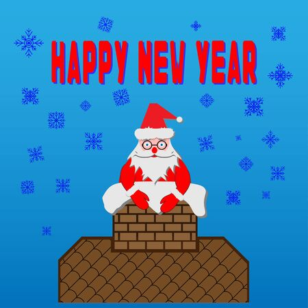 Santa Claus in a chimney on a roof. Santa Claus got stuck in a chimney on the roof. Christmas flat style vector illustration. Snow day background