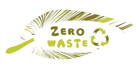 Zero-Waste. Recycle sign. Zero Waste badge or emblem vector design. Zero waste inside green leaf isolated on white background. Vector illustration Illustration