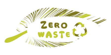 Zero-Waste. Recycle sign. Zero Waste badge or emblem vector design. Zero waste inside green leaf isolated on white background. Vector illustration Vectores