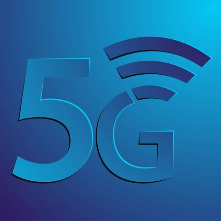 5g icon. The abstract lettering 5G with wifi symbol isolated on purple background. 5g signal sign. Vector illustration