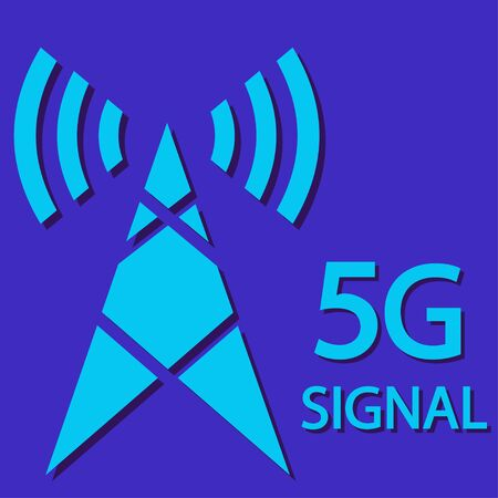 5g signal technology icon. Radio tower with text 5G signal . New 5th generation mobile network, high speed connection wireless systems and more.
