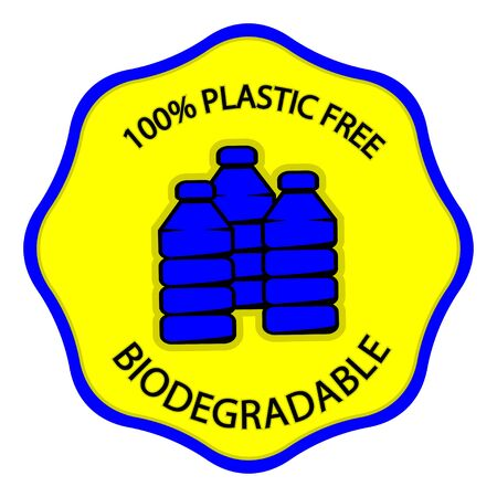 Biodegradable icon. Stamp with lettering 100 plastic free and biodegradable, for different product. Plastic free symbol with plastic bottle inside. Vector illustration