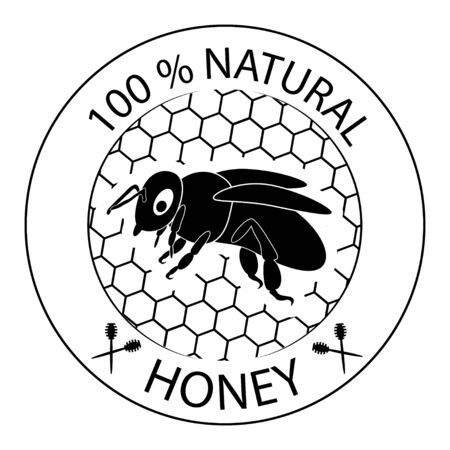 Honey bee. 100 natural product icon. 100 natural honey sign. Badge for different package with honey product