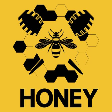 Honey bee. Honey logo with a bee or wasp and honeycomb in black color isolated on orange background. Modern flat design honey. Vector 向量圖像