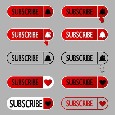 Subscribe button. Set of subscribing icons with bell and with like symbols. Icons for social media apps, alert ringing or subscriber alarm symbol with the hand cursor