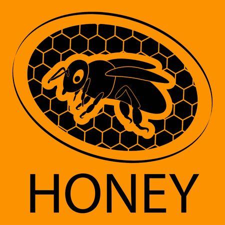 Honey bee. Honeycomb bee . Honey bee inside honeycomb in black color isolated on orange background. Modern flat design. Vector