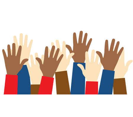 Stop racism icon. Black lives matter concept. Raised up hands of people with different skin colors. Justice and no racism concept. Template for background, banner, poster with text. Vector