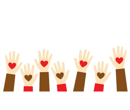 Stop racism icon. Black lives matter concept. Hearts in the hands. Template for background, banner, poster with text. Hands holding a heart, give and share love to people concept. Vector