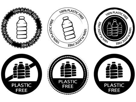 A set of signs with text Plastic free. Icon or stamp with text Plastic free for a different package. Biodegradable symbol. Round symbol with plastic bottle inside in black color on gray background