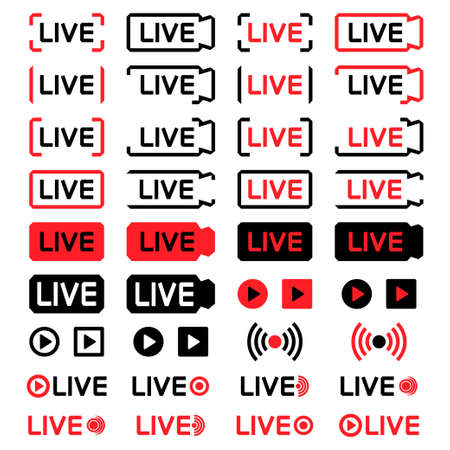 Set of live streaming icons. Live broadcast icons, isolated on white background. Social media live button. Camera icon. Lower third template for tv, shows, movies and live performances. Vector