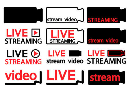 Collection of live streaming icon. Symbols and buttons of live streaming, broadcasting, online stream. Lower third template for tv, shows, movies, live performances, concert. Camcorder icon. Vector