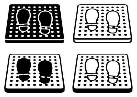 Sanitizing mat. Antibacterial equipped in flat style. Disinfection carpet for shoes. Set of disinfectant mats. Vector illustration isolated on white background