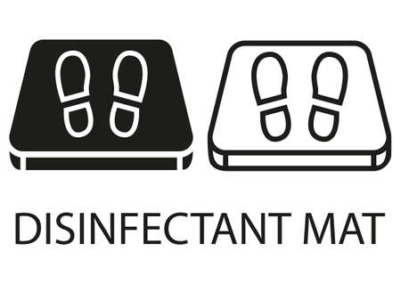 Disinfectant mat. Sanitizing mats. Antibacterial entry rug in flat style. Disinfecting entry carpet for shoes. Vector illustration isolated on white background Illustration